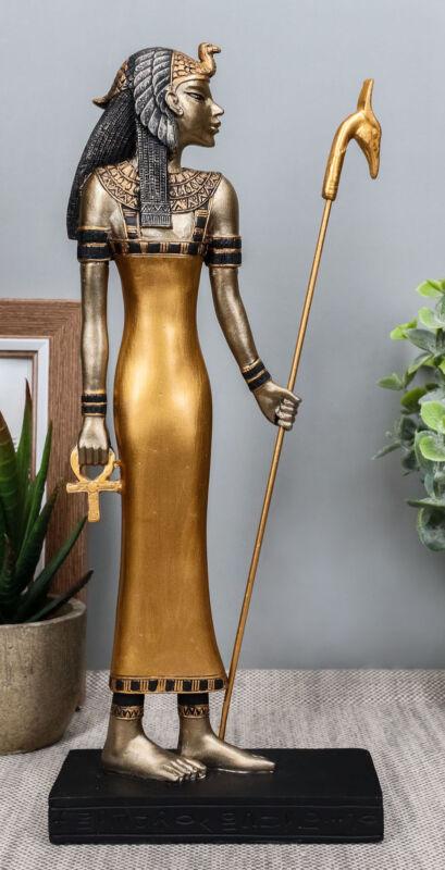 "Classical Egypt Goddess Mother Isis Ra Holding Ankh Staff Slim Figurine 10""H"
