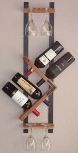 Cantinetta portabottiglie e calici di vino legno da parete muro porta bottiglie