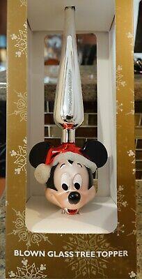 "New Disney Parks SANTA MICKEY MOUSE Glass Christmas Tree Topper - 13"""