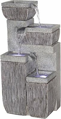Gartenbrunnen 4-stufig mit LED´s + Pumpe Springbrunnen Zier-Brunnen außen Garten