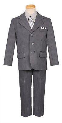 boys silver gray pinstripe formal suit with tie and handkerchief spring wedding - Boys Grey Suit