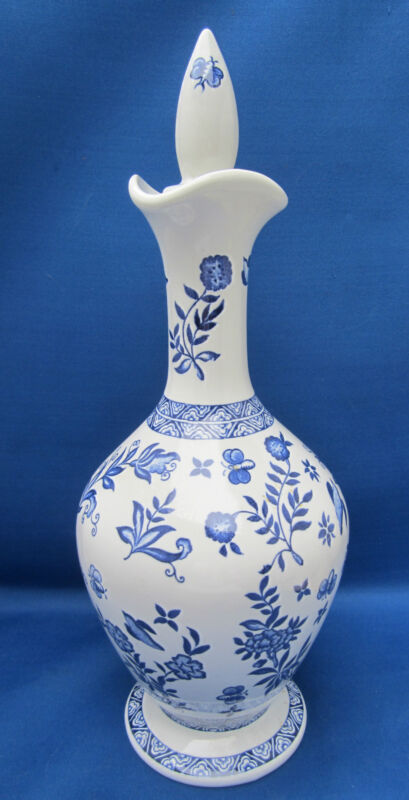 Coalport LE Decanter BELFORT Blue White Florals Birds Cork Stopper 9.5""