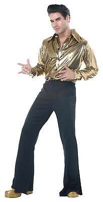 Disco King 70's Gold Dancing Adult Men Costume - Mens 70s Disco Costumes