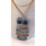 "Vintage large OWL chain necklace 2 tone gold & silver tone 21"" L"