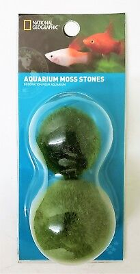 National Geographic 2-pc Aquarium Moss Stones Fish Tank Decoration Rocks NEW