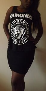 RAMONES BLACK T-Shirt Vest Tank Top TOP Ladies Women Girls New TSHIRT PUNK ROCK