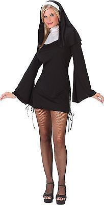 Sexy Nun Costume Womens Habit Collar Gown Fancy Dress Headpiece Adult Ladies NEW](Nun Head Piece)