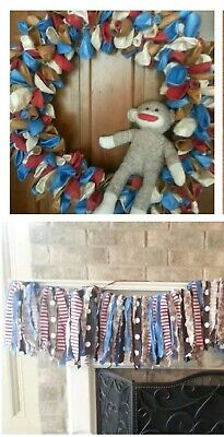 SOCK MONKEY Birthday Party Kit decor decoration wreath garland balloon  - Sock Monkey Birthday Party