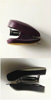 Cute Mini Stapler Staple Storage St Remover 3-in-1 Purple Grey School Office
