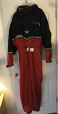 Bogner One Piece Vintage Ski Suit Snow Snowboard Red Blue Mens 40 Hood H1f ()