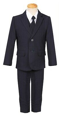 Boys slim fit suit navy dark blue formal wedding complete set long tie vest pant - Boys Suit