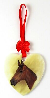 Heart Shaped Ornaments (Heart Shaped Ceramic Hanging Thoroughbred Horse Ornament With Red Ribbon)
