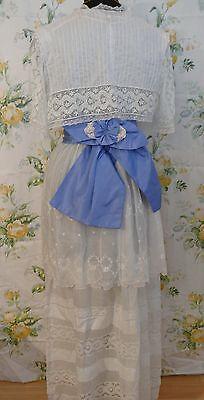 1905-08 Art Nouveau  Dress &Bolero Handkerchief White Linen Wedding. Wreath Embr