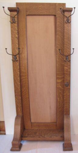 "Antique Solid Quarter Sawn Oak Mission / Empire Hall Tree Fits 16"" x 60"" Mirror"