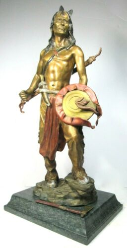 Native American Indian Warrior Chief Bronze Sculpture Shield& Removable Tomahawk