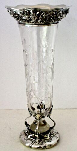 """GORHAM ATHENIC STERLING & HAWKES CUT GLASS ART NOUVEAU 13"""" FLOWER VASE 1905"""