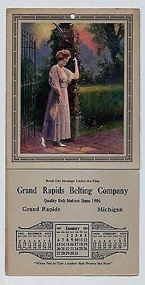 ANTIQUE VINTAGE 1923 & 1924 CALENDAR WITH PRINT OF WOMAN BY JAMES ARTHUR