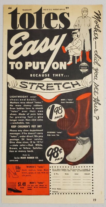 1949 Print Ad Totes Stretch Over Shoes & Boots Marx Rubber Loveland,Ohio