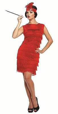 CLEARANCE Women's 1920's Flapper Dress Red or Black One size Fancy Dress Costume