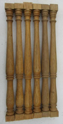 "6 Unpainted Oak Victorian Porch Spindles Balusters Columns Antique 21 3/4"" high"
