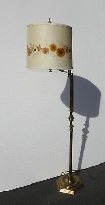 Vintage French Country Swivel Arm Brass Floor Lamp Floral Shade Flowers are Real Brass Swivel Arm Floor Lamp