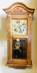 D&A PENDULUM WALL CLOCK WITH KEY VINTAGE MADE IN KOREA WIND UP CHIMES