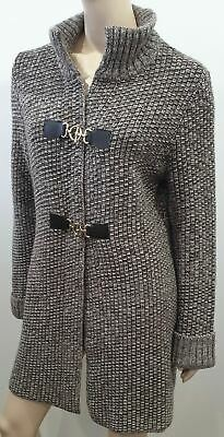 DORIANI CASHMERE Brown & Cream Chunky Knit Funnel Neck Long Cardigan 46 UK14