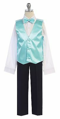 Men & Boy's Satin Formal Vest & Bowtie Add To Tuxedo Suit  Made in USA All Sizes (Boys In Tuxedo)