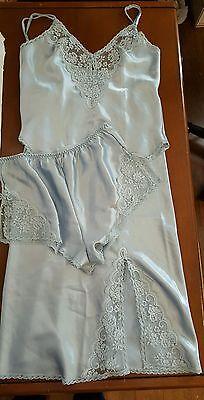 Vintage Chantilly Maidenform Set Blue Lace Sateen 3pc Slip Cami Panties Lingerie
