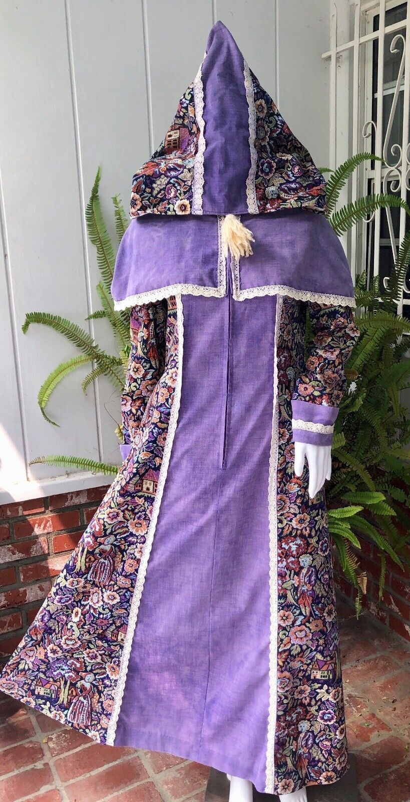 VTG Black Label Gunne Sax Tapestry Brocade Print Maxi Dress with Hood S/M AS IS