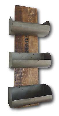 Design Retro Vintage Wandregal Regal Mango Holz massiv 3 Fächer Zinn Metall NEU - Mango Holz Wand Regal