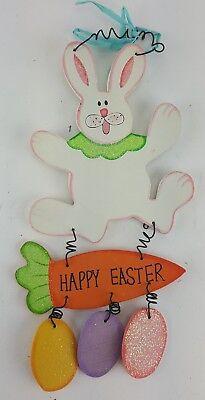 EASTER BUNNY WITH COLORED EGGS WALL DOOR HANGER HAPPY EASTER SIGN - Halloween Coloring Door Hangers