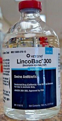 Lincobac 300 100ml Swine Pigs Hogs Antibiotic Lincomix Inj Lincomycin