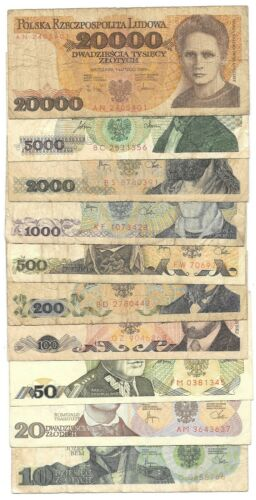 1979 - 1989 POLAND: Set of 10 Polish Banknotes. 10 - 20000 Złotych Circulated