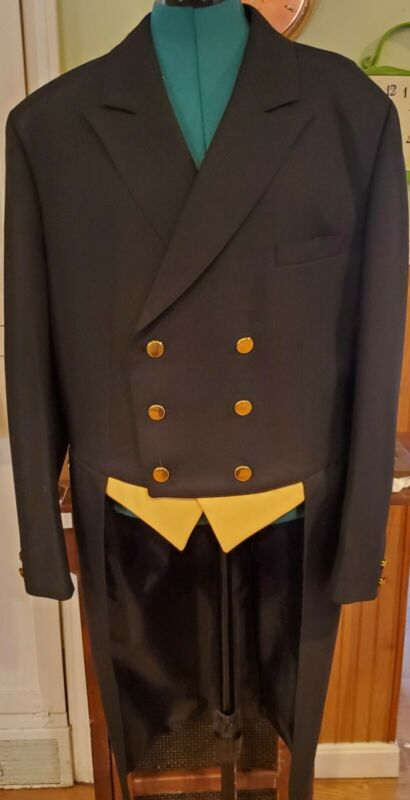 English Cambrai Collection Equestrian Shadbelly Show Hack  Navy Blue Mens Coat