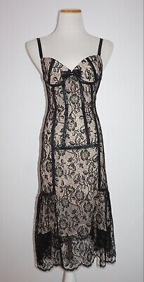 TULEH Black Lace Bustier-Style Dress w/Leather Trim - sz S (Lace Trimmed Leather Bustier)