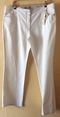 NEW STEHMANN WOMENS wideleg WHITE Ribbed COTTON stretchy JEANS Trousers Sz:20L
