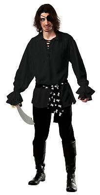 Adult Cotton Black Pirate Shirt with Waist Sash Adult Size Standard