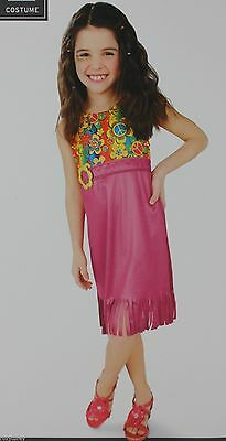 Halloween Girls Flower Child Funky HIppie Print Dress Costume Large 10-12 NWT - Childs Hippie Costume