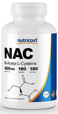 Nutricost N-Acetyl L-Cysteine (NAC) 600mg, 180 Capsules Amino Acids 180 Capsules
