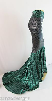 Mermaid skirt Spandex Scale print fabric party skirt  with Puddle train