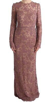 Nuevo Dolce & Gabbana Vestido Rosa Floral Encaje Funda Manga Larga IT40/US6/S