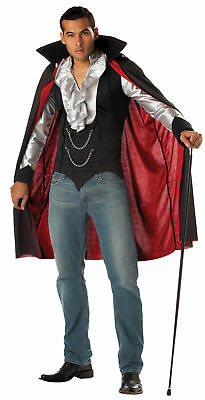 Cool Vampire Men Adult Costume Shirt & Cape Fancy Dress California Costumes - Men Vampire Costumes