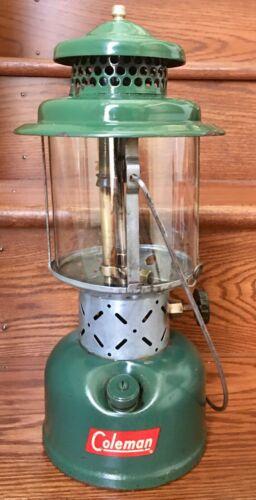 1955 Coleman Lantern Model 220E w/ Pyrex Coleman Sunshine Logo Globe