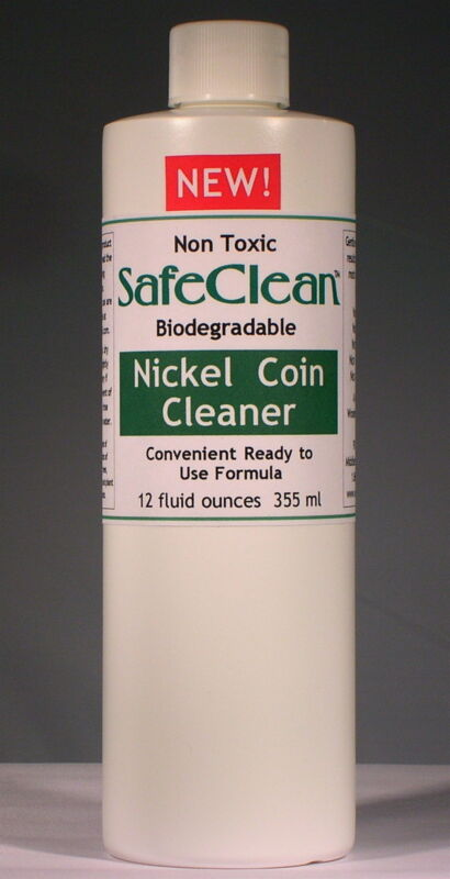 New! SafeClean Coin Cleaner for Modern Nickel Coins. 12 fl. oz. 355 ml.