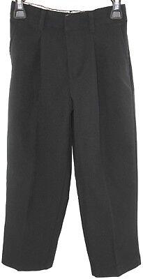 Black Little Boys Elastic Waist Pleated Front Trousers Dress Pants Size 5 Reg.