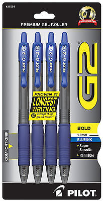 Pilot G2 Bold Point Pen 1.0mm Blue Gel Ink 4 Pack Archival Acid Free