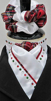 Ready Tied White & Red Tartan Dressage Riding Stock/Scrunchie/Diamantes - Celtic