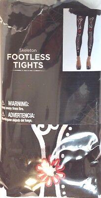 Ladies Footless Tights Black Skeleton Leg Bones One Size Up to 155  New - Skeleton Leg Tights