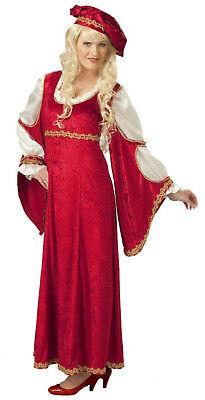 exkl Damen Kostüm Renaissance FÜRSTIN Kleid Barett mittelalter Larp - Damen Kostüm Übergröße